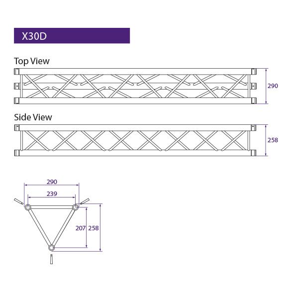 Tweedehands Prolyte H30V-C004 truss vierkant  2-weg 120 graden