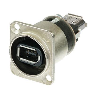 Neutrik Firewire Chassis FireWire 6 met IEEE 1394 6-polige aansluitingen, nikkelen behuizing