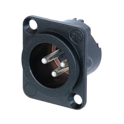 Neutrik XLR 3p. Chassis Male Zilveren contactpunten, zwartmetalen behuizing