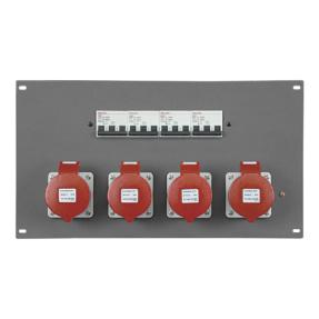 Showtec PDP-324F rackpaneel voor 4x 32A CEE 5-polig + MCB - 19 inch 6HE